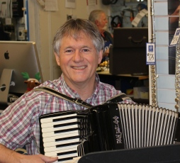 Chris with his accordian