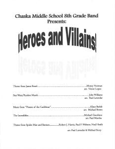 TAOP - Chaska Middle School East 8th Heroes/Villains