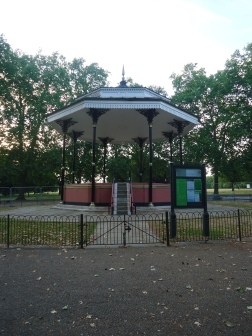 """The bandstand in Hyde Park. The famous trumpeter, Harry Mortimer, described Hyde Park's bandstand as """"uncomfortable, unsanitary, but much loved""""."""