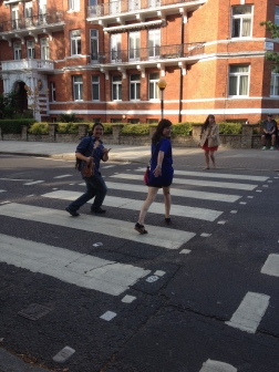 Posing for a quick shot on Abbey Road. With it being a live street, it is actually quite dangerous amongst the myriad of tourist trying to get an accurate photo!
